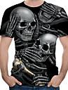 Men\'s T-shirt 3D Graphic Skull Print Tops Round Neck Black