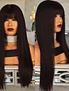 Syntetiska peruker Kinky Rakt Middle Part Peruk Lång Svart Syntetiskt hår 22 tum Dam Dam Mörkbrun