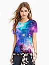 Women\'s T-shirt - Galaxy / 3D / Graphic Print Purple