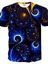 Homens Camiseta Galaxia Grafico 3D Tamanhos Grandes Estampado Delgado Blusas Decote Redondo Preto