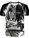 Men\'s Plus Size T-shirt 3D Graphic Skull Print Short Sleeve Tops Basic Round Neck Dark Gray