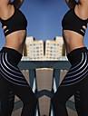Dam Hög midja Yoga byxor Rand Svart Vit Elastan Löpning Fitness Gym träning Cykling Tights Leggings Sport Sportkläder Reflexremsa Butt Lift Magkontroll Hög Elasisitet Smal