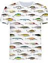 בגדי ריקוד גברים חולצה קצרה חולצה גראפי 3D חיה מידות גדולות דפוס צמרות צווארון עגול לבן