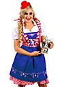 Oktoberfest Dirndl Trachtenkleider Dam Klänning Bavarian Kostym Grön Havsblå Jadeite