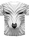 בגדי ריקוד גברים חולצה קצרה חולצה גראפי 3D חיה דפוס צמרות צווארון עגול לבן