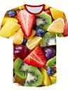Men\'s Club Beach Street chic / Exaggerated Plus Size T-shirt - Color Block / 3D / Fruit Print Round Neck Rainbow / Short Sleeve