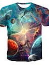 Men\'s T-shirt Galaxy Graphic Print Short Sleeve Tops Round Neck Blue Red Green / Summer