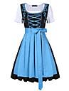 Oktoberfest Dirndl Trachtenkleider Dam Klänning Bavarian Kostym Ljusblå Purpur Grön