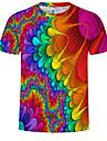 Men\'s EU / US Size T-shirt - 3D / Rainbow Print Round Neck Rainbow