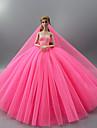 Dollklänning Fest / afton Bröllop För Barbie Ensfärgat Ljusgul Purpur Gul Satin / tyll Polyester 1 X Doll Kläder För Flicka Dockleksak