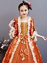 Prinsessa Rokoko Victoriansk Medeltida kostymer Klänningar Outfits Kostym Flickor Barn Kostym Röd+Guld Vintage Cosplay Fest / afton Födelsedagsfest Födelsedag Lång längd A-linje