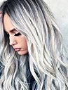 Syntetiska peruker Vågigt Asymmetrisk frisyr Peruk Mellan Grå Syntetiskt hår 26 tum Dam Party Mörkgrå