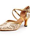 Dam Dansskor Imitationsläder Moderna skor Högklackade Kubansk klack Går att specialbeställas Guld / Silver / Prestanda / Träning