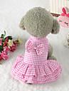 Hund Klänningar Hundkläder Ljusblå Rosa Kostym 100% Polyester Pläd / Rutig Geometrisk Rosett söt stil Pattern Dress XS S M L XL
