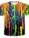 Men\'s T-shirt - Rainbow Print Round Neck Rainbow