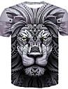 Men\'s Plus Size T-shirt 3D Graphic Animal Slim Tops Round Neck Gray