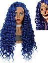 Syntetiska peruker Syntetiska snörning framifrån Lockigt Afro Kinky Jenner Middle Part Spetsfront Peruk Lång Blå Syntetiskt hår 26inch Dam Klassisk syntetisk Färgskiftande Blå / Naturlig hårlinje