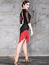 ラテンダンス ドレス タッセル 女性用 訓練 性能 ハーフスリーブ ナチュラルウエスト ナイロン チュール