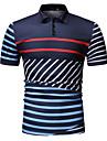رجالي قميص الجولف قميص تنس مخطط طباعة كم قصير عمل قمم الأعمال التجارية أبيض أزرق البحرية