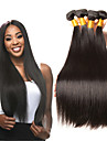 4 paket Indiskt hår Rak Obehandlat Mänsligt hår 100% Remy Hair Weave Bundles Huvudbonad bunt hår Hårförlängningar av äkta hår 8-28 tum Naurlig färg Hårförlängning av äkta hår Luktfri Säkerhet Alla
