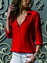 Women\'s Shirt - Solid Colored Shirt Collar Navy Blue