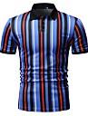 رجالي قميص الجولف قميص تنس مخطط طباعة كم قصير عمل قمم الأعمال التجارية أصفر أحمر