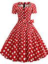 Women\'s A Line Dress Knee Length Dress Wine Rainbow Black Red Navy Blue Short Sleeve Polka Dot Print Print Spring Summer Square Neck 1950s Vintage Going out S M L XL XXL