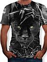 Hombre Camiseta Camisa Grafico 3D Animal Delgado Tops Escote Redondo Negro