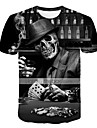 Men\'s Plus Size T-shirt 3D Graphic Skull Print Short Sleeve Tops Exaggerated Round Neck Black / Summer