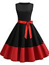 Women\'s A Line Dress Knee Length Dress Black Red Sleeveless Patchwork Round Neck Hot Vintage S M L XL XXL