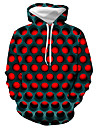 Men\'s Plus Size Basic / Casual / Daily Hoodie - Geometric / Color Block / 3D Hooded Red XXXL