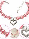 Hund Halsband Justerbar storlek Dekorativ Färgblock Hjärta Legering Purpur Blå Rosa
