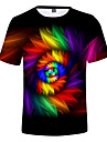 Men\'s EU / US Size T-shirt - 3D / Rainbow Print Round Neck Rainbow / Short Sleeve / Summer