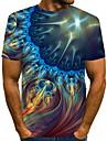 Homens Camiseta Grafico Estampa Colorida 3D Estampado Manga Curta Roupa Diaria Blusas Moda de Rua Exagerado Decote Redondo Azul Marinha / Bandagem