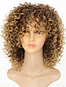 Syntetiska peruker Afro Afro Kinky Med lugg Peruk Korta Jordgubbsblont Syntetiskt hår 15 tum Dam Dam Färgskiftande Afro-amerikansk peruk Ljusbrunt / Till färgade kvinnor