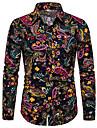 Men\'s Shirt Galaxy Geometric Print Long Sleeve Party Tops Boho Black