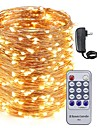 50M LED Copper Wire String Lights 500LEDs Starry Lights and 12V 3A Power Adapter and Remote Control Christmas Holiday