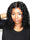 Äkta hår 13x6 Tillslutning Peruk Bob-frisyr Asymmetrisk frisyr Deep Parting stil Peruanskt hår Lockigt Naturlig Peruk 150% Hårtäthet med babyhår Naturlig hårlinje Afro-amerikansk peruk Till färgade