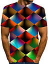 Men\'s Tees T shirt 3D Print Graphic Geometric Plus Size Print Short Sleeve Casual Tops Streetwear Exaggerated Rainbow Blue Red