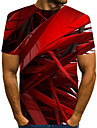 Men\'s T-shirt Abstract Graphic Print Short Sleeve Tops Streetwear Exaggerated Round Neck Blue Red Blushing Pink / Summer