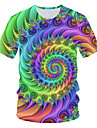 Men\'s Daily Basic EU / US Size T-shirt - 3D Round Neck Rainbow / Short Sleeve