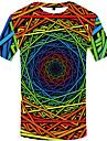Men\'s Daily Wear Basic Plus Size T-shirt - Color Block Round Neck Rainbow / Short Sleeve