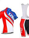 21Grams Amerikanska / USA Landsflagga Herr Kortärmad Cykeltröja med Haklapp-shorts - Svart / röd Röd+Blå Cykel Träningsdräkter Andningsfunktion Fuktabsorberande Snabb tork sporter Terylen Polyester