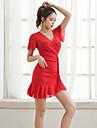 ラテンダンス ドレス グリッター素材 フリル 女性用 性能 半袖 スパンデックス