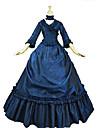 Prinsessa Maria Antonietta Blommor Style Rokoko Victoriansk Renässans Klänningar Festklädsel Maskerad Dam Spets Kostym Blå Vintage Cosplay Jul Halloween Fest / afton 3/4 ärm Golvlång Balklänning