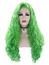 Syntetiska snörning framifrån Vågigt Sidodel Spetsfront Peruk Lång Grön Syntetiskt hår 18-24 tum Dam Justerbar Värmetåligt Party Grön