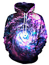 Men\'s Hoodie Jacket Galaxy / 3D Hooded Basic Loose Purple S M L XL XXL