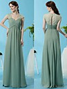 A-Line V Wire Floor Length Chiffon Elegant Formal Evening Dress 2020 with Ruched / Lace Insert