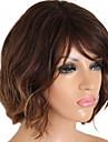 Syntetiska peruker Lockigt Sidodel Peruk Medium längd Brun / Bourgogne Syntetiskt hår 12 tum Dam Moderiktig design Dam syntetisk Brun