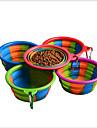 Hund Katt Små pälsdjur Matbehållare 0.35 L Kiselgel Bärbar Vikbar Fritid Regnbåge Regnbåge Skålar och matning